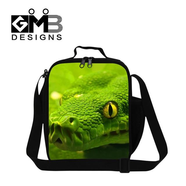 Personalizada Aislado bolsa de almuerzo para los niños de la escuela, Patrón de La Serpiente 3D Envase del Almuerzo de oficina para las mujeres, para hombre con estilo de trabajo bolsa de comida