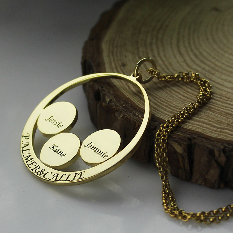 Engraved couples pendant with kids name disc necklace personalized engraved couples pendant with kids name disc necklace personalized gold color circle family name necklace we are a family in pendant necklaces from jewelry aloadofball Image collections