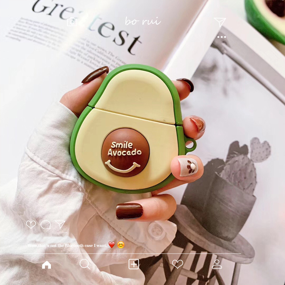 Smile Avocado Key Chain Silicone Case For Apple Airpods 1 2 Accessories Case Protective Cover Bag Box Earphone Case Keychain