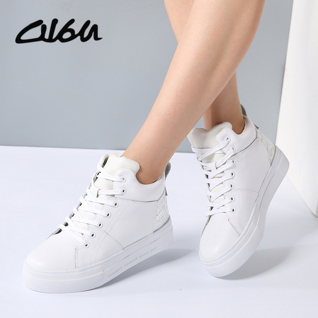 08cdc6521aaf3 O16U Women Sneakers Casual Boots Shoes Fashion Leather Lace up Female White  Brand Ladies Rubber Platform Fashion Boots winter