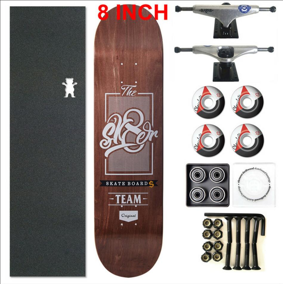 Купить с кэшбэком SKATER 1 Set Pro Quality Complete Skateboard Deck 8 inch Skate Board Wheels & Trucks Double Rocker Skateboard Parts