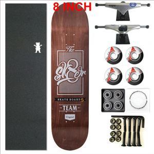 Image 5 - 스케이터 1 세트 프로 품질 완료 스케이트 보드 데크 8 인치 스케이트 보드 바퀴 및 트럭 더블 로커 스케이트 보드 부품