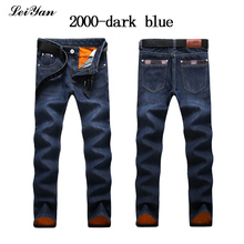 Фотография Winter Men Jeans Fashion Solid Warm Elasticity Blue Jeans Casual Plus Size Stretch Trouser Straight Jeans Male Denim Cargo Pants