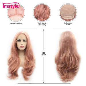 Image 4 - Imstyle Pink Wig Lace Front Wigs Synthetic Hair Lace Wig Long Natural Wavy Wigs For Women Heat Resistant Fiber Daily Wig