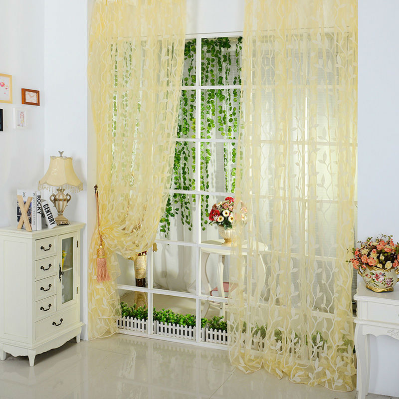 Power Source Devoted Curtains Gradient Color Polyester Fiber Door Window Modern Living Room Curtains Tulle Sheer Fabrics Rideaux Cortinas 200x50cm