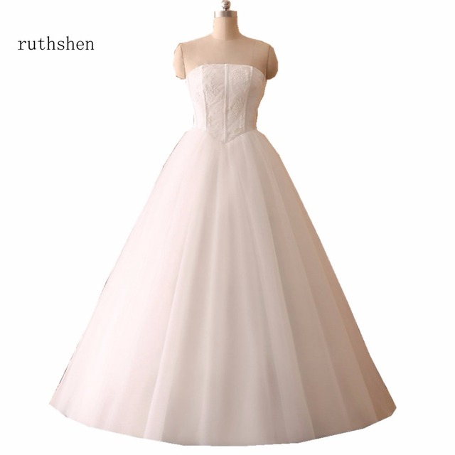 Simple Real Photo Ball Gown Wedding Dresses Princess Style Corset ...