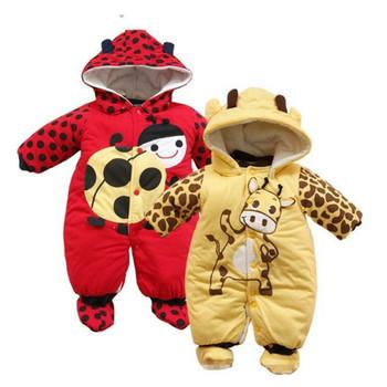 Baby Girl Boy pajacyki noworodka ubrania dla dzieci jesień zima grube Unisex z kapturem kombinezon kostium dla dziewczynek chłopców niemowląt w wieku 0-9 miesięcy strój tanie i dobre opinie MoShuBe Pasuje prawda na wymiar weź swój normalny rozmiar COTTON Footies 4-6 miesięcy 7-9 miesięcy 0-3 miesięcy kids clothes