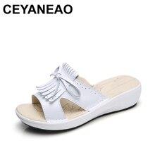 770cc2e473e3 CEYANEAO 2018 Summer women flat sandals Shoes white leather ballet slippers  round toe fringe slides sandals