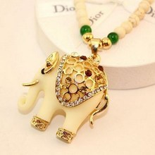 1 pcs free shipping Fashion jewelry accessories bohemia long design gem rhinestone elephant necklace pendant  H7009 P20