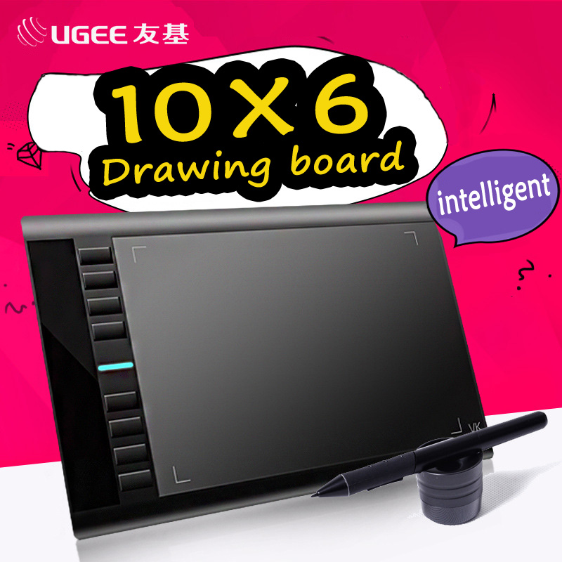 Ugee M708 Digital Graphics Tablet 10x6''Painting Pad 2048 Level Graphic Tablet Usb Rechargeable Pens with Glove for Drawing ugee m708 digital tablet graphics drawing tablet pad with pen 2048 level digital pen good as huion h610 pro