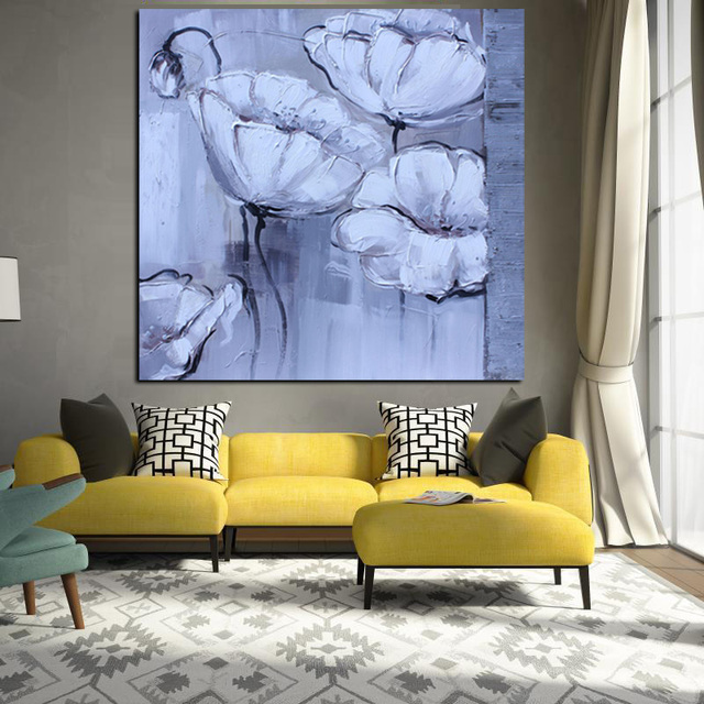 Hd print abstract knife white poppy oil painting on canvas pop art poster modern wall picture