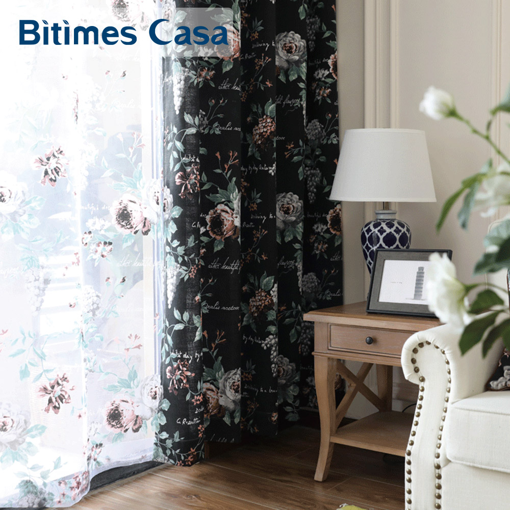 Black Floral Windows Curtain Drapes Rose Pattern Reactive