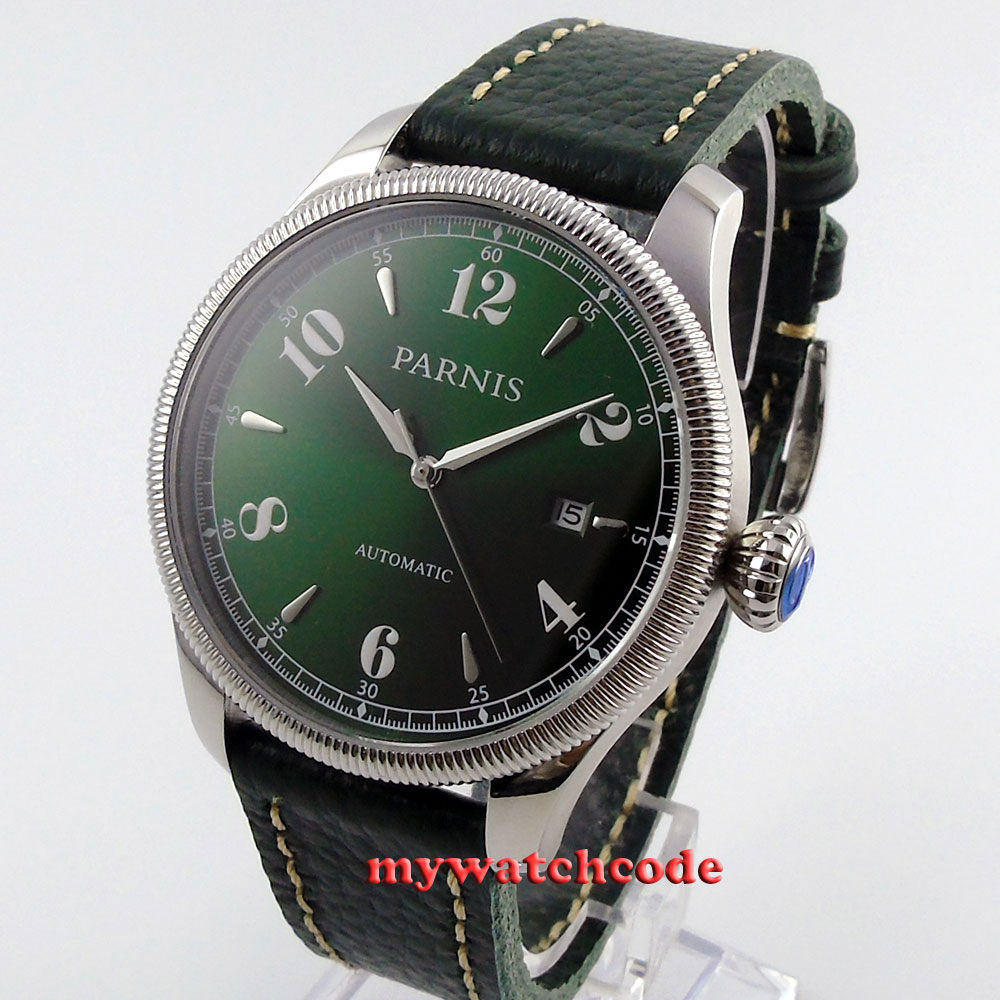 42mm Parnis green dial Sapphire Glass 21 jewels miyota Automatic mens Watch P415 цена и фото