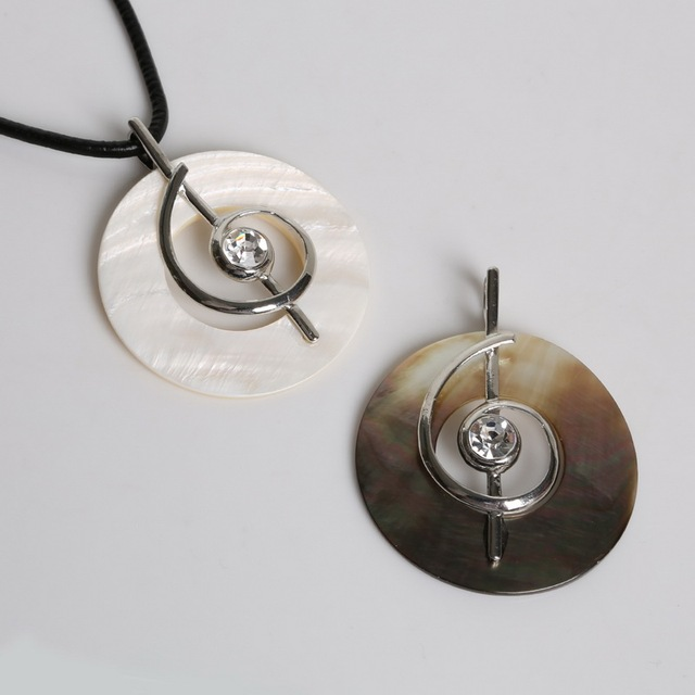 New Crystal Music Symbol Shape Natural Round Mother Of Pearl Shell