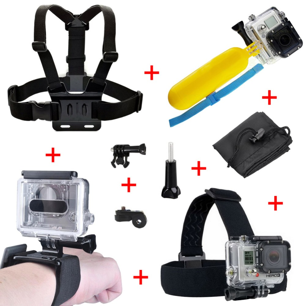 Head Helmet Strap Chest Belt Handheld Bobber Monopod+Adaptor MountFor Gopro Accessories for Gopro Hero3/3/ 4 sj4000 xiaomi yi