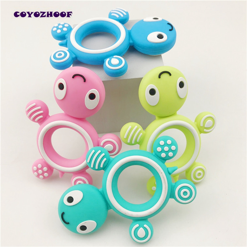 Silicone Tortoise 10pc Baby Food Grade Teether DIY Teething Accessories Silicone Teether Chew Pendant Lovely Pacifier