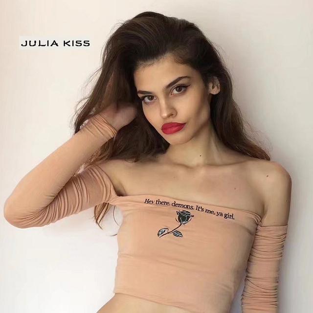 Women Bardot Crop Tee With Embroidery Letters by Julia Kiss