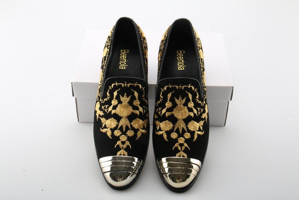 Homens Preta Ouro Mocassins As Noiva Do Camurça Redondo De Genuíno Sapatos Top Vestido Picture Beertola Toe Couro Metal Bordado Apartamentos fd5wqYzxz