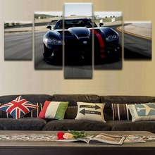 HD Printed Landscape Posters Modular Pictures 5 Pieces Flashy Black Cool Sports Car Canvas Wall Art Paintings Room Home Decor