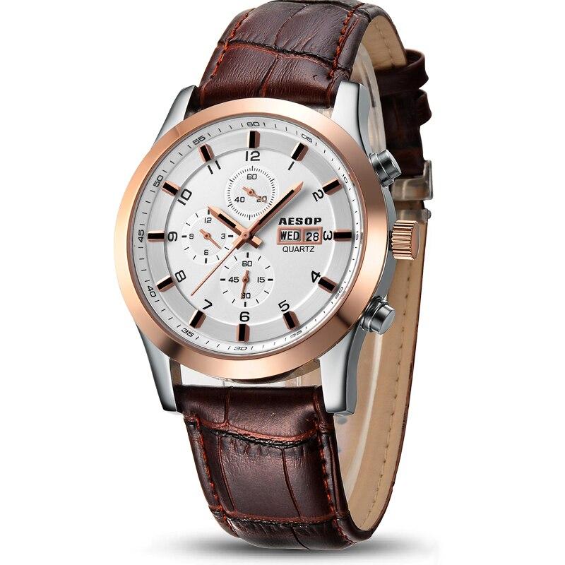 AESOP Sport Watch Men Sapphire Crystal Quartz Wrist Wristwatch Week Display Leather Male Clock seiko watch premier series sapphire chronograph quartz men s watch snde23p1