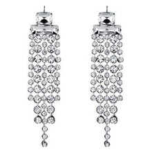Sparkling Silver Crystal Women Piercing Jewelry Wholesale Bridal Dangle Earrings Rhinestone Long Tassel