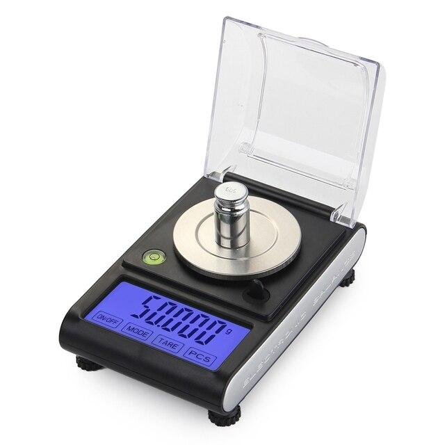 Balanza electrónica Digital de 50g y 0.001g, balanza Digital de diamante con pantalla LCD táctil de precisión de 0.001g, para peso y contar en laboratorio
