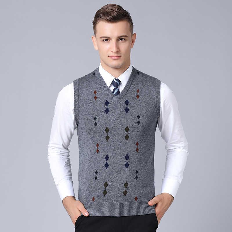 ac2897d4b3c ... MACROSEA Business Casual Men s Wool Sweater Argyle Pattern Wool Vest  Retro Style Sleeveless Pullover Autumn Winter Male ...