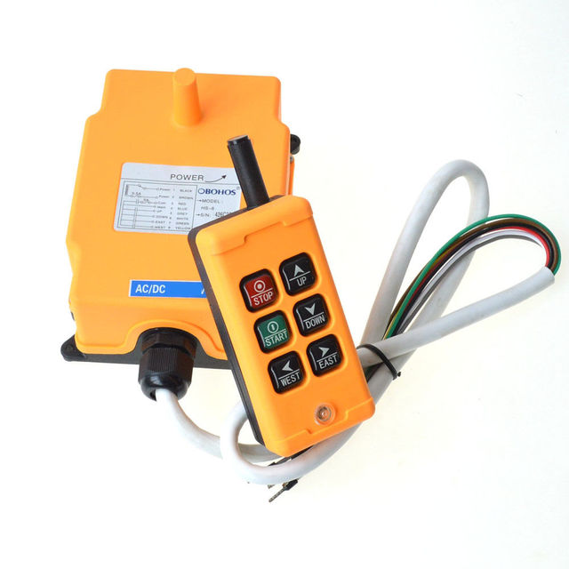 HS-6 220VAC 6 Buttons 2 Motions 1Speed Hoist Crane Truck Winches Radio Remote Control System