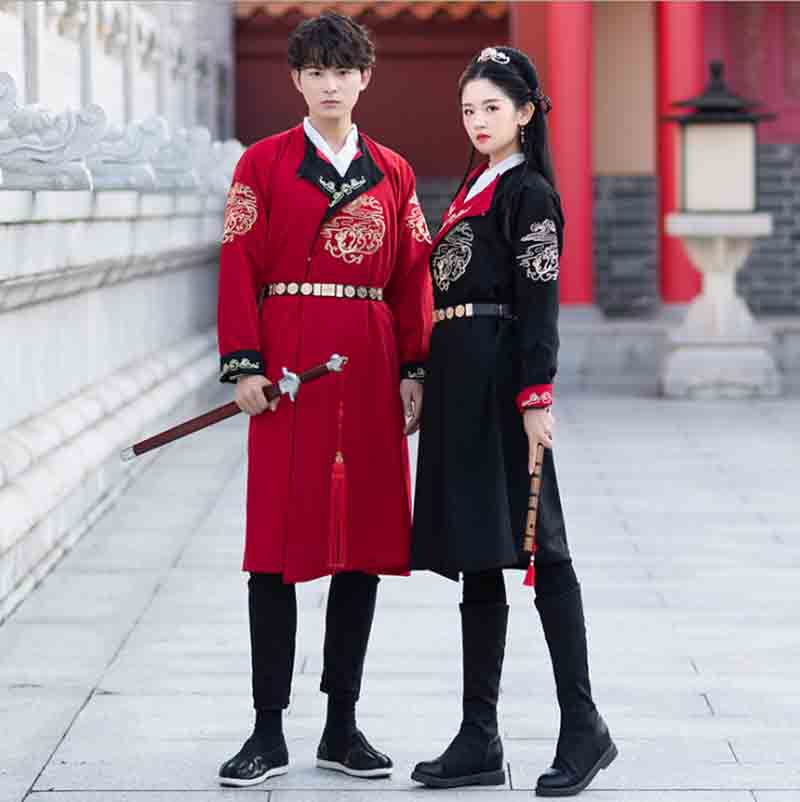Couples Hanfu Chinese Ancient Traditional Red Black Long Coat Jacket Outfit Adult Halloween Costume For Men/Women Plus Size XXL
