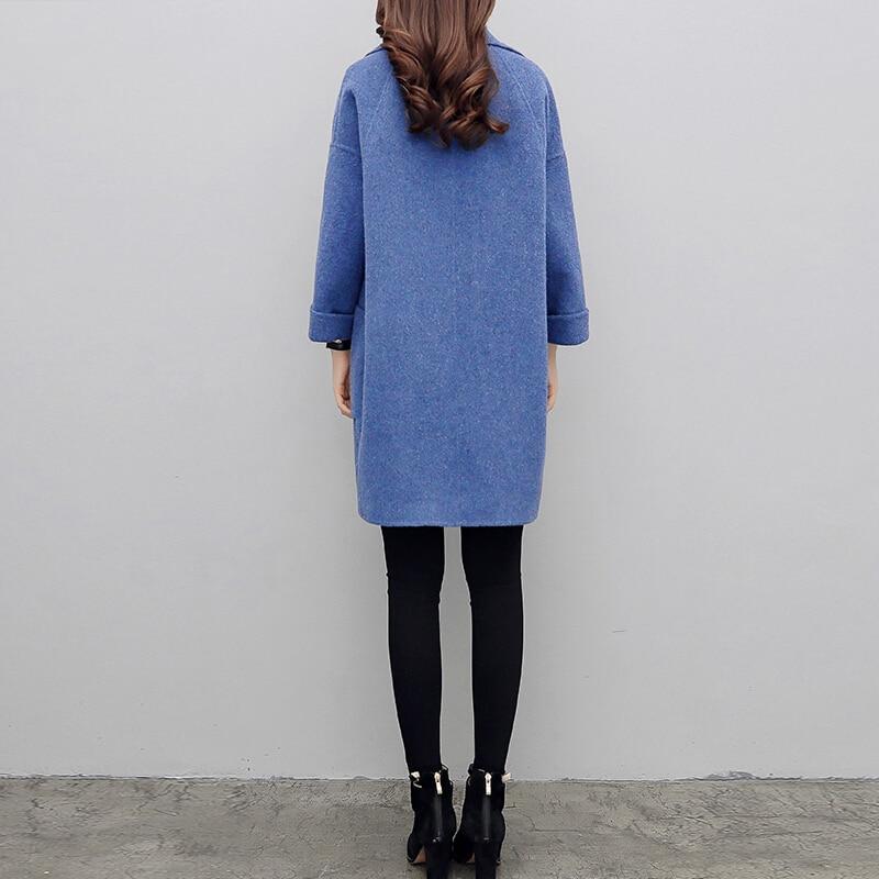 Abrigo largo de lana para mujer otoño ropa azul - 3