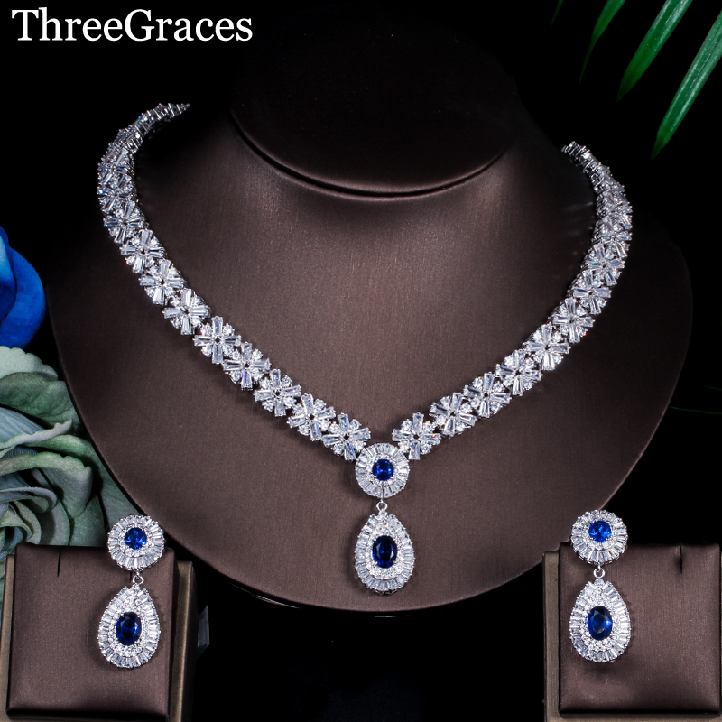 ThreeGraces Gorgeous Silver Color CZ Large Royal Blue Water Drop Necklace Earrings African Jewelry Sets For
