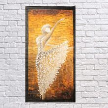 No frame 100% Handmade Abstract dancing white flowers Oil Painting on Canvas Pictures wall image picture room Home Decor(China)