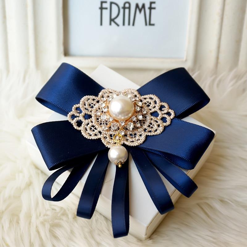 promotion free shipping Headdress fashion bow MALE mens female casual Black Ribbon brooch Korean Rhinestone shirt collar tie pin