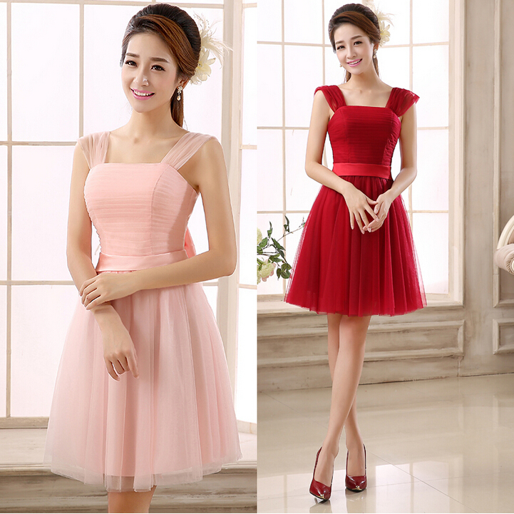 8b5f958f8 Azul claro rosa damas de honor bridesmade vestido de dama de honor vestidos  cortos para invitados de la boda de color diferente envío libre B1991 en ...