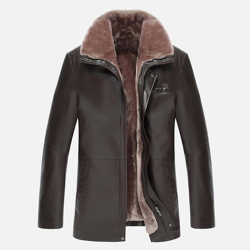 все цены на Winter fur collar new men's thicken velvet leather coat business casual leather jacket men warm jaqueta de couro