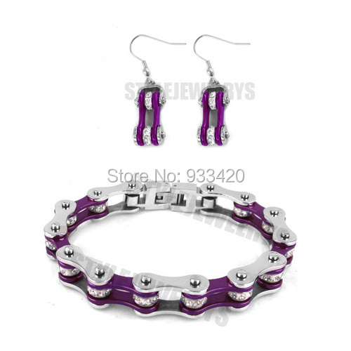 Free shipping! Bling Silver & Purple Bicycle Chain Motor Earring and Bracelet Stainless Steel Jewelry Women Biker Set SJB0152S