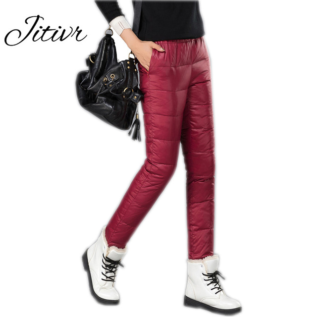 Jitivr 2016 Winter Down Pants Women Casual Outwear Elastic Thick Down Female Warm Lady Plus Size Thicken Female Trousers Warm