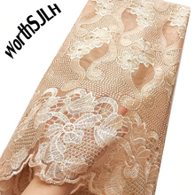 2019 Tulle Nigerian French Lace Fabric With Stones Aso Ebi Mesh African Fabric Lace Material Wedding Gold Lace Fabric For Dress цена в Москве и Питере