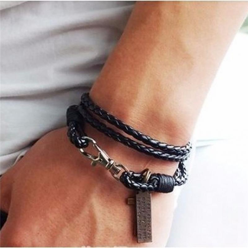 8901b22b7dbec 1PC Fashion Male Bracelet Jewelry Christmas Gift Leather Pulseira Masculina  Cross Bracelets Men Best Friendship Bracelets