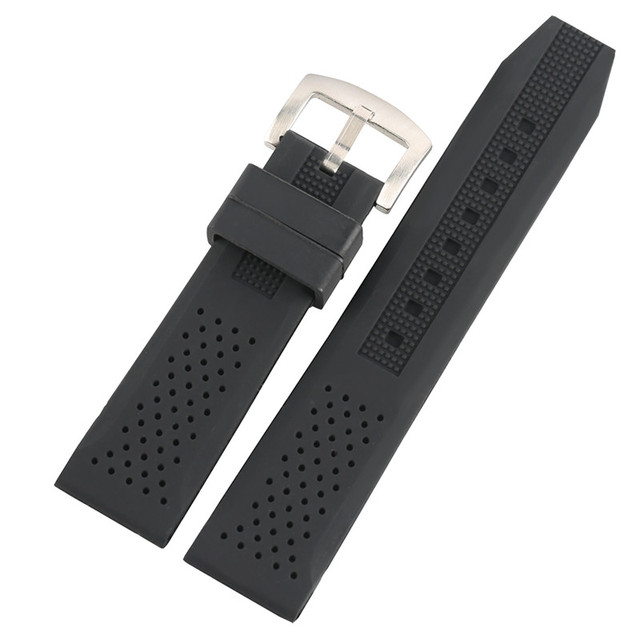 High Quality Black/Brown/Blue/Red Silicone Outdoor Waterproof Watch Strap 18mm/2