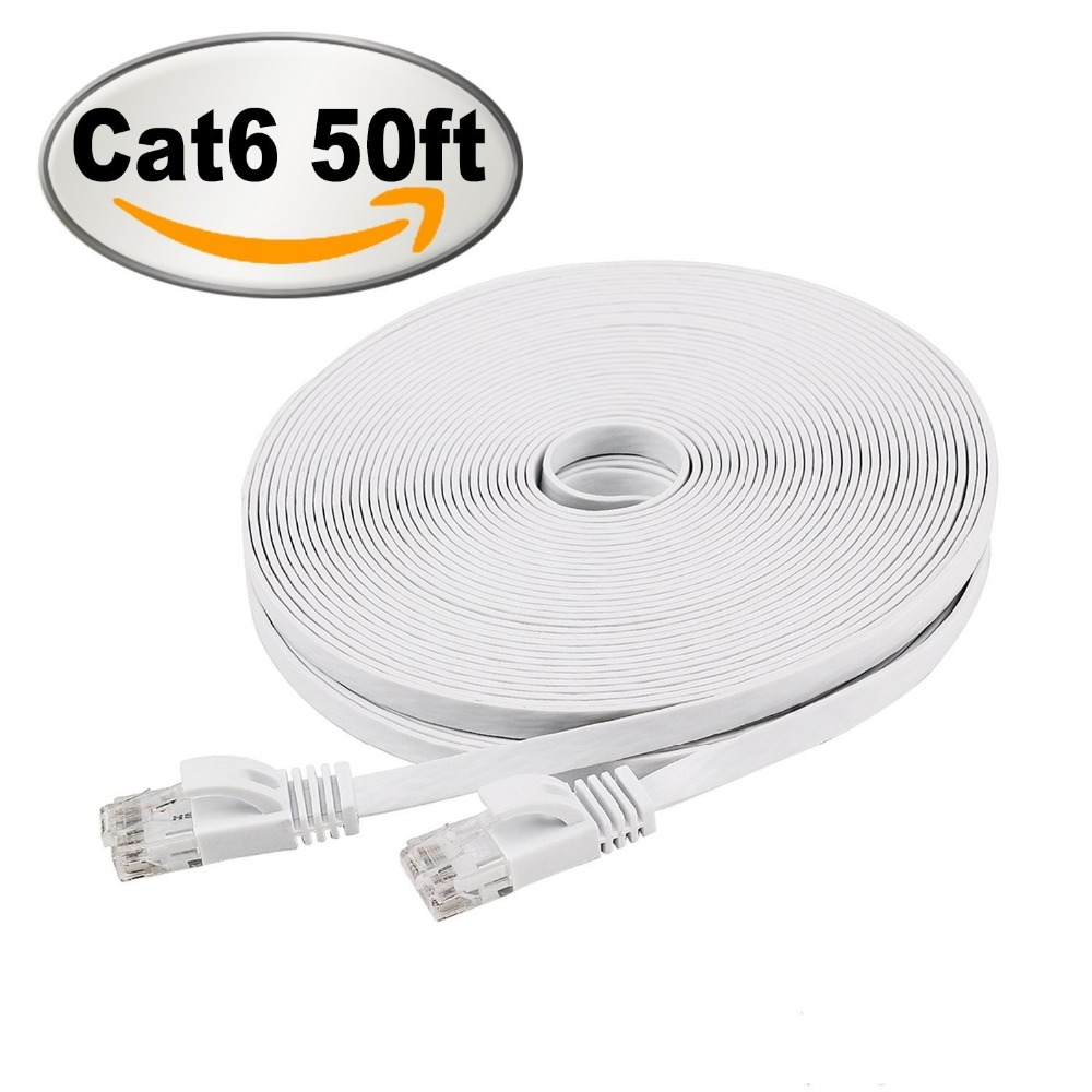 Cat 6 Ethernet Cable 50ft White Black Flat Internet Network Cable  Cat 6 Computer Cable With Snagless Rj45 Connectors50ft 15m