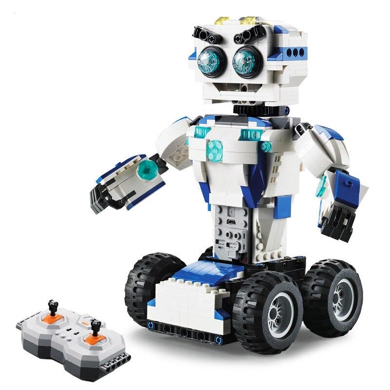 تكنيك الفضاء روبوت التحكم عن بعد 2in1 الخالق بناء كتل الطوب DIY اللعب تنوير للأطفال متوافق-في حواجز من الألعاب والهوايات على  مجموعة 3