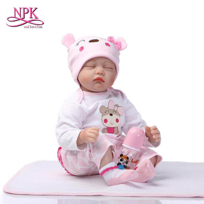 купить NPK 55cm Silicone Reborn Babies Realistic Reborn Baby Dolls Sleeping Lifelike Babies Newborn Doll for Kid's Girls Birthday Gift по цене 3863.53 рублей