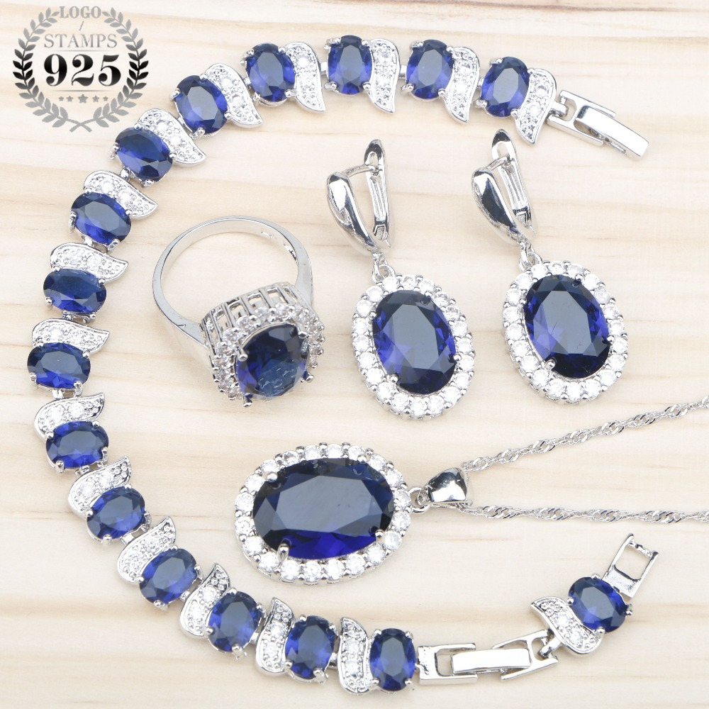 Women 925 Silver Bridal Jewelry Sets Blue Zircon Earrings Rings With Stones Pendant&Necklace Bracelet Set Jewelery Gift Box