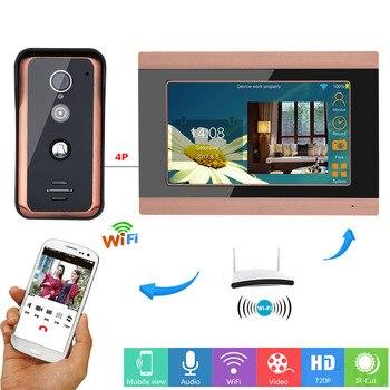 MOUNTAINONE 7 بوصة Wifi فيديو لاسلكية الجرس إنترفون نظام الدخول مع HD 1000TVL السلكية كاميرا دعم التطبيق إنترفون سجل