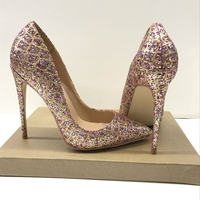 Abesire 2019 Women Bling Bling Glitter Stiletto High Heels Spring New Pumps Ladies Pointed Toe Slip on Dress Office Shoes Woman