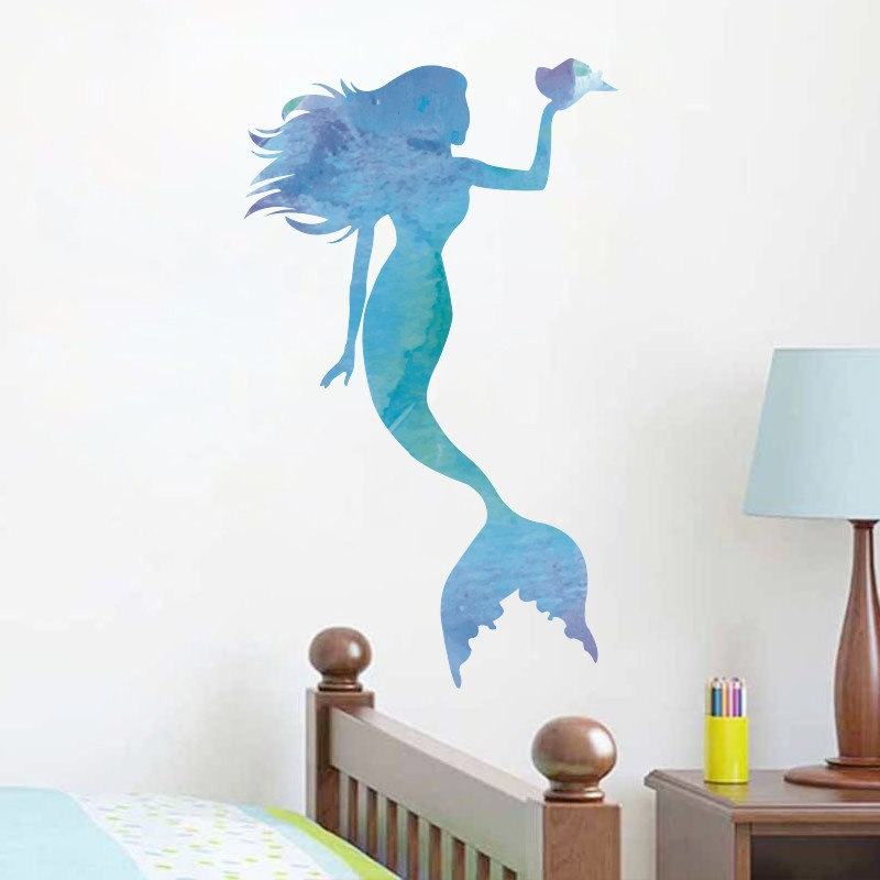 Blue Mermaid Vinyl Wall Stickers Funny Cartoon Art Wall Decals For Kids Rooms Bedroom Living Room Nursery Home Decor