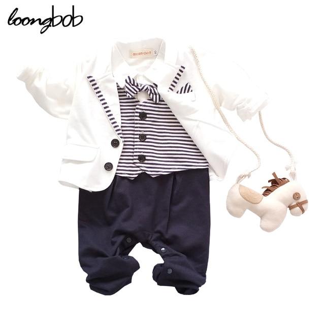 2016 Baby Boy Party Suit 2pcs White Gentleman Suit + Striped Romper Infant Boys Clothes Newborn Clothing Set terno infantil