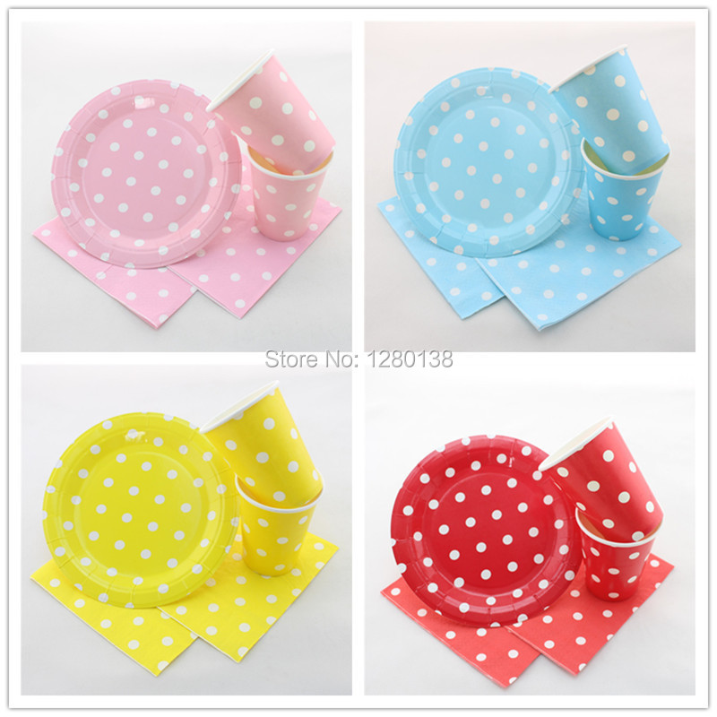 600 Sets Pink Blue Yellow <font><b>Red</b></font> Disposable Wedding Party Tableware,7 inch Party <font><b>Paper</b></font> Plates,<font><b>9</b></font> oz <font><b>Paper</b></font> <font><b>Cups</b></font>,33x33cm <font><b>Paper</b></font> Napkins