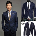 Продажа ML15.88! freeshiping мужские указал воротник одной кнопки костюм мода slim fit blazer мужская одежда пиджак
